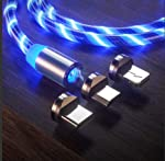 LED Flowing USB Charger Cable Light Shining Charger Light Up Charging Cable Magnetic Snap Quick Connect Magnetic 3 in 1...
