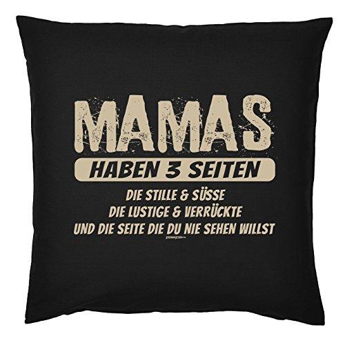 Tini - Shirts Mama Kuschel-Kissen - Mütter Sprüche-Kissen - Geschenk Deko-Kissen: Mamas haben 3 Seiten - Kissen mit Füllung - Farbe: schwarz -