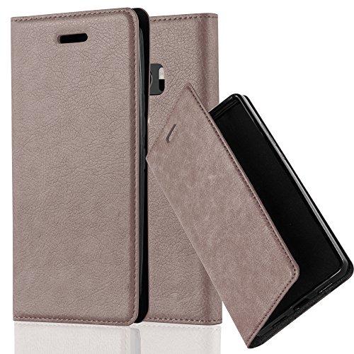 Cadorabo Hülle für HTC 10 (One M10) - Hülle in Kaffee BRAUN – Handyhülle mit Magnetverschluss, Standfunktion und Kartenfach - Case Cover Schutzhülle Etui Tasche Book Klapp Style