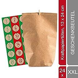 pajoma Adventskalender Nordic Vintage, 1 x 24 Kraftpapiertüten zum Befüllen, inkl. Zahlensticker und Klammern