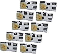 """Hochzeitskamera """"Weiße Rose"""" - 10er Pack Einwegkamera mit Blitz (27 Aufn. 400 ASA)"""