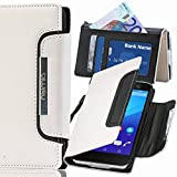 numia Sony Xperia M2 Hülle, Handyhülle Handy Schutzhülle [Book-Style Handytasche mit Standfunktion und Kartenfach] Pu Leder Tasche für Sony Xperia M2 Dual Case Cover [Weiss-Schwarz]