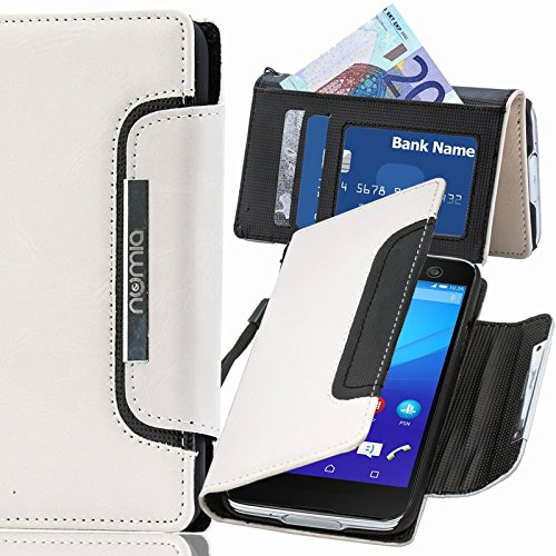 Sony Xperia Z Ultra Hülle, numia Handyhülle Handy Schutzhülle [Book-Style Handytasche mit Standfunktion & Kartenfach] Pu Leder Tasche für Sony Xperia Z Ultra Case Cover [Weiss-Schwarz]