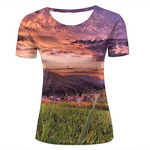 54ddcdba94a4f5 para Mujer 3D Printed Casual Summer Tees Shirts Beautiful Sunset Scenery -  Rural Tribe Graphic Crewneck