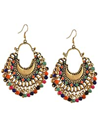 Tiaraz Fashion German Silver Beaded Chandbali Hook Earrings Jewellery for Women