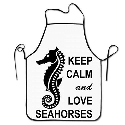 Keep Calm And Love Seahorses Design Kitchen Funny Apron For Kitchen BBQ Barbecue Cooking Grilling Tailgate Bacon