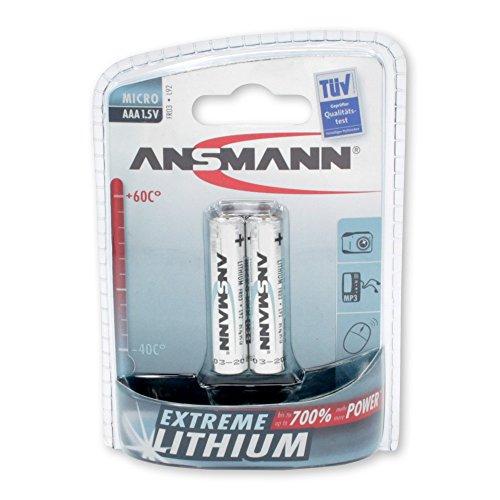 ANSMANN Extreme Lithium Batterie AAA Micro 2er Pack  - 1,5V, LR3 - hohe Kapazität, extrem leich, 700% mehr Power
