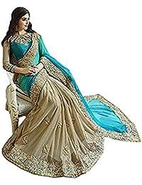 Sarees(Ansh Boutique Women's Latest Design ,sarees With Blouse Piece. ( Blue Chiku Heavy