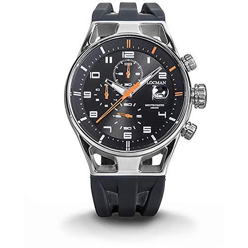 Locman Montecristo Chrono/orologio uomo/quadrante nero/cassa acciaio e titanio/cinturino silicone nero/ref. 0542A01S-00BKORSK