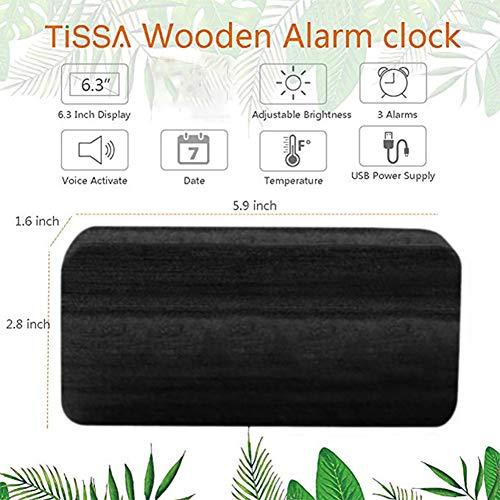 Queta LED Holz Wecker Digitalwecker Tisch Uhr Datum Temperatur Anzeige 12/24 Stunde (Schwarz)