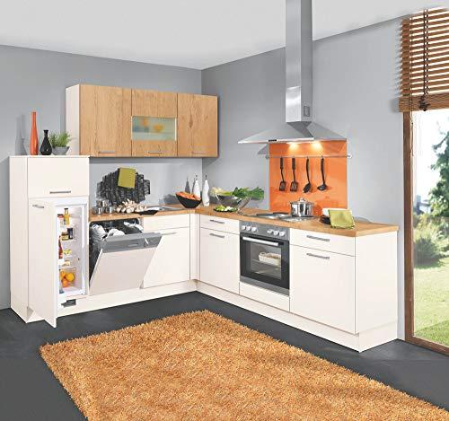 Wohnorama Winkelküche inkl E-Geräte von Burger 245 x 245 cm Magnolie/Wild Oak by