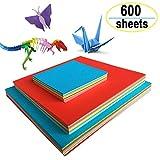 Origami Papier, Amison 600 Feuilles de Papier Origami Double Face 3 Tailles 10 Papier Couleur pour Bricolage Travaux Manuels Enfants...