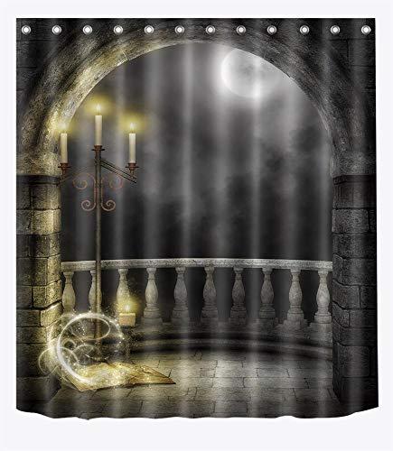 LB 180cmx180cm Halloween Thema Duschvorhang gewölbte Tür, Vollmond, -