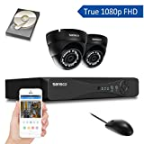 SANSCO All-in-One Smart CCTV Camera System with 1080P DVR and 2 HD 2.0MP Day Night Dome Cam (1920x1080 Mega Pixel, Indoor and Outdoor) and 1TB Internal Hard Drive (Preinstalled), Black 1 Pack