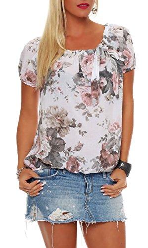 Malito Damen Blusenshirt mit Blumen Print   Oberteil mit Schleife    Hemdbluse - Tunika - Modern 3f8f738b3d