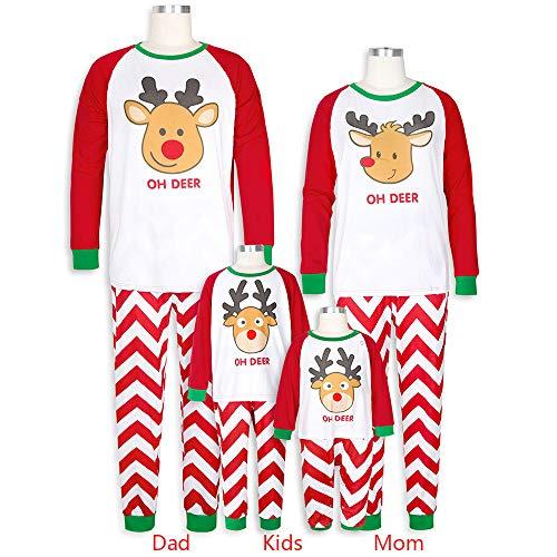 TianWlio Baby Weihnachten Pyjamas Bekleidung Baby Weihnachten Outfit Baby Mädchen 3PCS Weihnachts Kleinkind Baby Karikatur Rotwild Druck Spielanzug + Pants + Hut Familien ()
