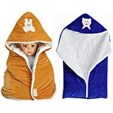 MY NEWBORN Baby Blanket Baby Wrapper With Welcrow And Baby Sleeping Bag With Zipper-combo Set Of 2 Pcs Attractive Ccolors In Shearing Velvet