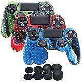 YoRHa Studded Silikon Hülle Abdeckungs Haut Kasten für Sony PS4/slim/Pro Controller x 3 (camouflage rot + tarnung blau + tarnung grün) Mit Pro aufsätze thumb grips x 8