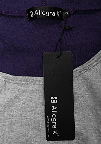 Allegra K Allegra K Femmes Long Sleeve Hoodie Pull tunique à capuche à cordon Tops purple