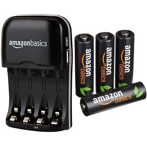 AmazonBasics - Cargador de pilas AA y AAA y 4 pilas recargables AA (500 ciclos, 2500mAh)
