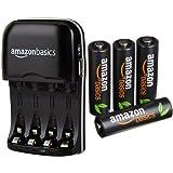 AmazonBasics Batterieladegerät für Ni-MH AA / AAA Akkus mit USB-Port  und  vorgeladene Ni-MH AA-Akkus, 500 Zyklen, 4Stck