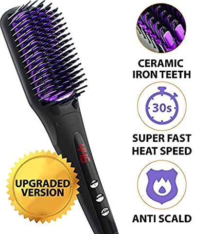 Hair Straightening Brush - Ceramic Heating Hair Straightening Ionic Brush - Frizz-Free (320-450℉/160-230℃) Hair Care for Silky Straight Hair Styling, LCD Display, Adjustable Temperature, Anti