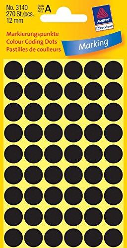 AVERY ZWECKFORM Lot de 3 Etuis de 270 pastilles gommettes adhésives rondes 12 mm Noir