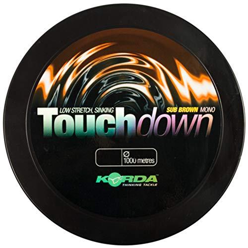 Korda Touchdown 1000m - Karpfenschnur zum Angeln auf Karpfen, Monofile Angelschnur zum Karpfenangeln, Monoschnur zum Angeln, Durchmesser/Tragkraft:0.35mm / 12lbs / 5.4kg Tragkraft, Farbe:Brown