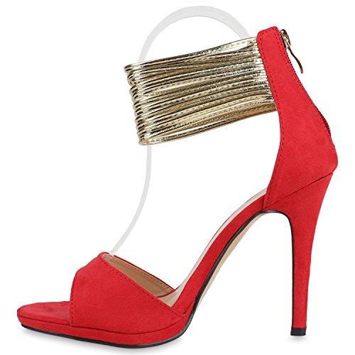 Damen Sandaletten Strass High Heels Party Schuhe Metallic Glitze Brautschuhe Abschlussball Hochzeit Rot Gold