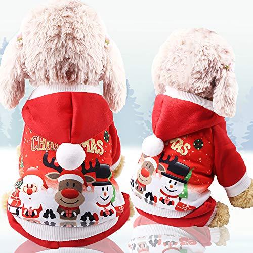Oizen felpa con cappuccio, costume per cani natalizio, cane caldo giacca felpa cappuccio animale domestico cappotto abbigliamento per cani di piccola taglia e cuccioli