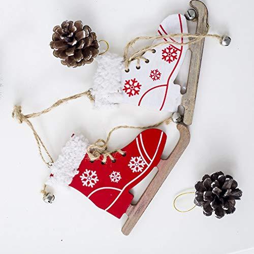 Hemore Weihnachts-Anhänger aus Holz, bemalt, dekorativ, Weihnachtsbaum, kreativer Schlittschuh, hängend, Weihnachtsdekoration, Großhandel