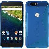 PhoneNatic Case kompatibel mit Google Nexus 6P - blau Silikon Hülle S-Style + 2 Schutzfolien
