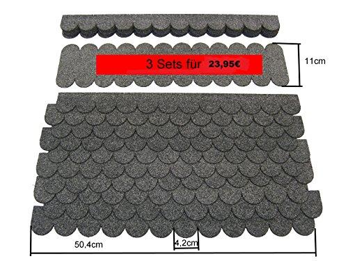 Mini Dachschindeln Rund (41 mm) - 3 Sets - Grau' 23.437' Dachschindel