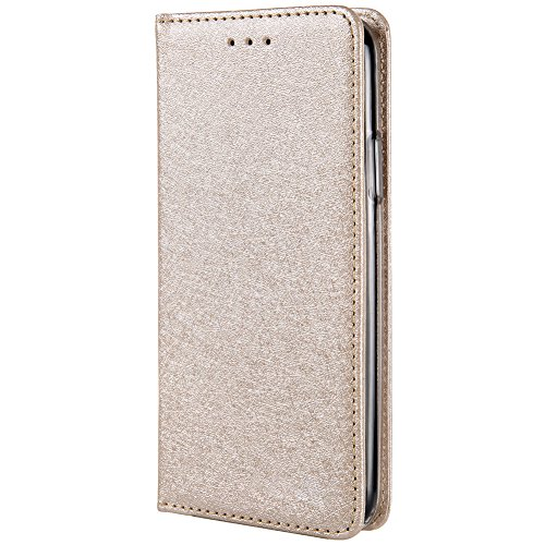 HARRMS iPhone 6 Plus,iPhone 6s Plus Handyhülle Handytasche mit Geldbörse mit Kredit Karten Fach Geldklammer Leder Hülle Handyfach Magnet Schutzhülle, Leichtes Gold - 6 Iphone Leder Plus Geldbörse Rosa