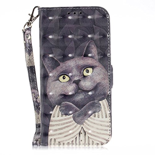 vingarshern Hülle für DOOGEE X30 Schutzhülle Etui Klappbares Magnetverschluss Lederhülle Flip Case Handytasche DOOGEE X30 Hülle Leder Brieftasche Tasche MEHRWEG(Katze-1)