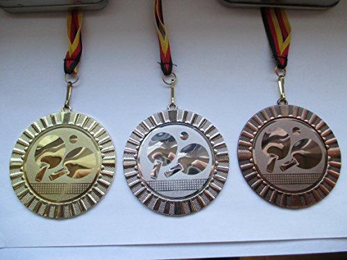 Medaillen Set - Groß 70mm - Gold, Silber, Bronze - Tischtennis - TT-Tennis - mit Emblem - Emblem 50mm - Gold - Silber - Bronce - mit Deutschland-Band -
