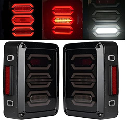 Jeep LED Tail Lights Smoked Red LED Taillights for Jeep