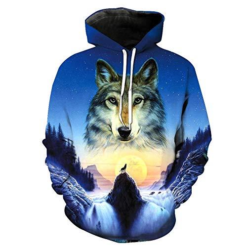 YAN-xUE Men ' S Hood Sweatshirt, Basic/Exaggerated Printing Long Digital Sleeve Hoodie-3D Hooded Blue Hooded Pocket XL Spring Fall with Pockets,Blue,2XL
