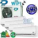 Climatizzatore inverter quadri split FROZEN R32 12000+12000+12000+12000 Btu DILOC classe A++/A+ funzione smart WIFI