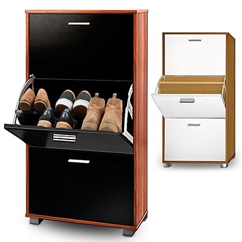 shoe storage cabinet cupboard rack oak black or white wooden organiser 3 door pull down amazoncouk kitchen u0026 home