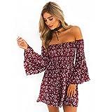 Mini-jupe florale sans bretelles pour Femmes Mode Décontractée Été Mini robe courte Toamen (XL, Rouge)