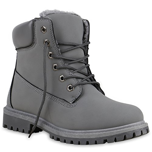 UNISEX Damen Herren Warm Gefütterte Damen Worker Boots Stiefeletten Outdoor Grau All