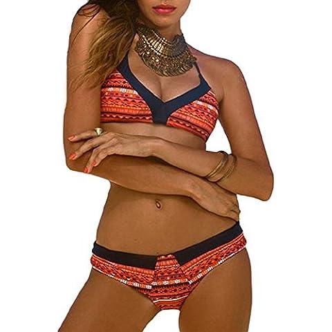 Embryform mujeres atractivas Retr? Impresión floral escotada brasileña Triángulo de baño bikini