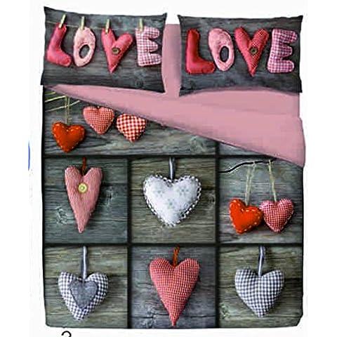 Copripiumino Matrimoniale Love Amore Rosso Patch - Cuori Cuore - Parure copripiumini con federe - Moderno e Chic - Vesti la tua camera da letto con stile