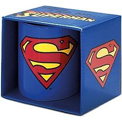 Copa Superman Logoshirt, de los tebeos de DC, taza de café azul con licencia original del diseño