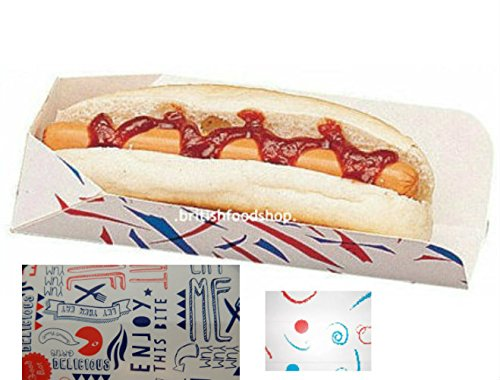 50 Disposable Hot Dog Trays/Boxes - Medium (Fast Food/Takeaway Packaging) BRITISH FOOD SHOP (BFSHD50) 1