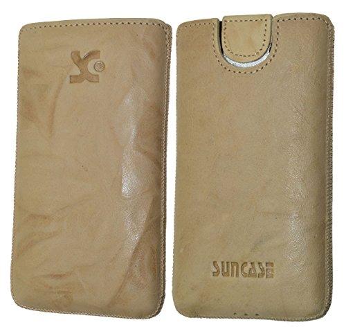 Original Suncase Tasche für / Emporia PURE / Leder Etui Handytasche Ledertasche Schutzhülle Case Hülle - Lasche mit Rückzugfunktion* in wash beige