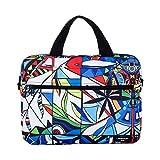 BevAve® 14-Zoll Laptop-Tasche Notebook-Tasche Canvas Designer-Tasche Design Sleeve Handtasche Schultertasche Umhängetasche Schutzhülle Motiv Flower-of-Life