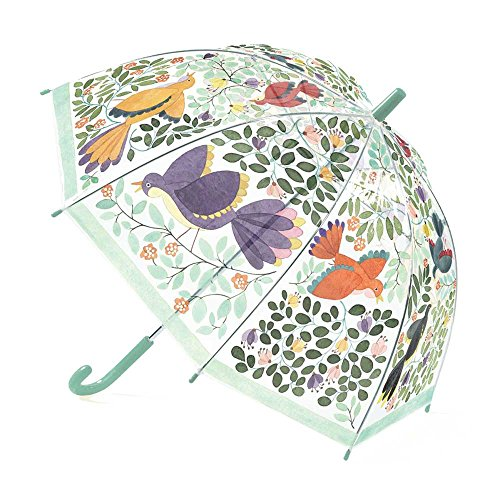 Kinder Regenschirm Stockschirm Transparent mit Blumen und Vögel Djeco