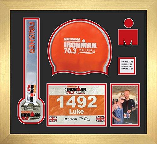 Kwik Picture Framing Ltd Ironman Staffordshire 70 3 Triathlon Marathon, Running Medal, Swimming Cap and Photo Display Frame Black Mount - Gold Frame